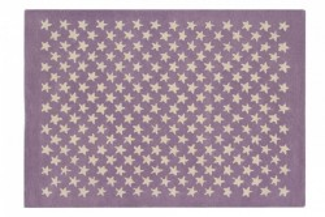 Covor dreptunghiular din bumbac si lana 140x200 cm Little Stars Wood Rose Lorena Canals