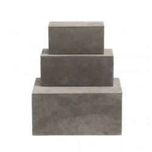 Set 3 cutii cu capac maro din piele si MDF Goat Elegance Nordal