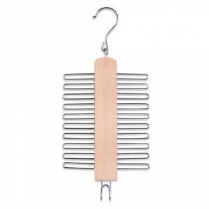 Umeras maro/argintiu din lemn si metal pentru cravate Tie Clip Chromed Zeller