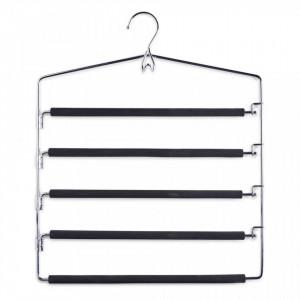 Umeras multiplu negru/argintiu din metal si EVA Trousers Hanger Zeller