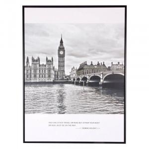 Tablou alb/negru din MDF si polistiren 60x80 cm Big Ben Somcasa