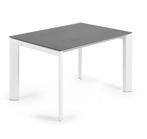 Masa dining extensibila dreptunghiulara alb/gri din otel si portelan 80x(120)180 cm Atta La Forma