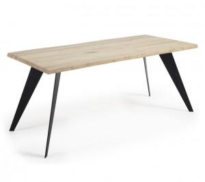 Masa dining dreptunghiulara maro/neagra din otel si lemn de stejar 90x160 cm Nack La Forma