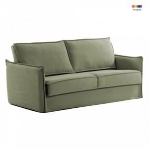Canapea extensibila verde din bumbac si metal 182 cm Samsa Poli La Forma