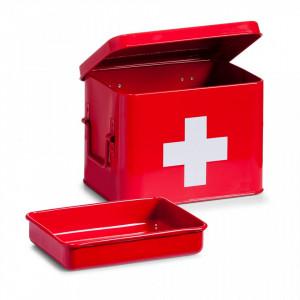 Cutie rosie/alba cu capac din metal pentru medicamente Medicine Box Zeller