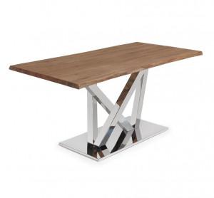 Masa dining maro din lemn si inox 100x180 cm Uve La Forma
