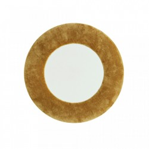Oglinda rotunda galbena din catifea 40 cm Round Randy Madam Stoltz