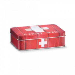 Cutie rosie/alba cu capac din metal pentru medicamente First Aid Red Small Zeller