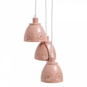 Lustra roz din fier cu 3 becuri Trina Ixia