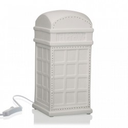 Decoratiune luminoasa alba din portelan Public Phone Box Versa Home