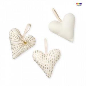 Set 3 decoratiuni suspendabile crem din bumbac organic Hearts Creme White Cam Cam