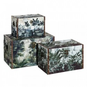 Set 3 cutii cu capac multicolore din MDF si textil Amazonia Flat Ixia