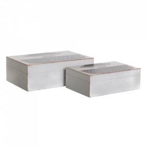 Set 2 cutii cu capac albe din MDF si canvas Tabla Ixia