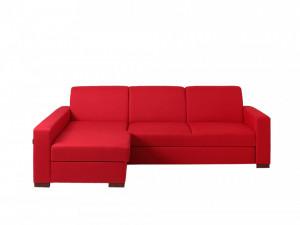 Canapea extensibila rosie din poliester si lemn cu colt 231 cm Lozier L Custom Form