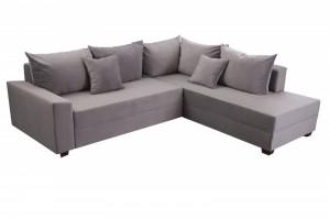 Canapea extensibila gri cu colt din catifea si lemn 245 cm Apartment Invicta Interior