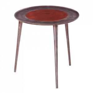 Masuta gri din lemn de mango si aluminiu 46 cm Sasha Ixia