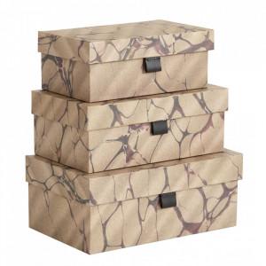 Set 3 cutii maro din carton si poliuretan Brown Mosaic Document Three Nordal