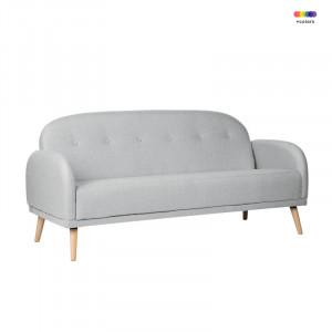 Canapea gri deschis din lemn de pin si poliester pentru 2 persoane Chicago Light Grey Somcasa