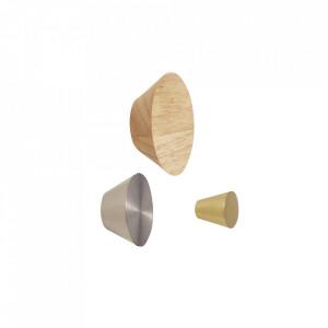 Set 3 manere din metal si lemn Knobs Hubsch