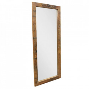 Oglinda dreptunghiulara maro din lemn de tec si sticla 70x180 cm Edgingto Raw Materials