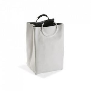 Cos de rufe alb/negru din poliester 46x55 cm Bag White Versa Home