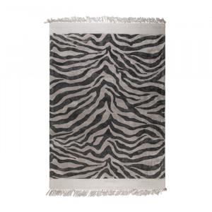 Covor alb/negru din viscoza 160x230 cm Zebra Friendly Bold Monkey