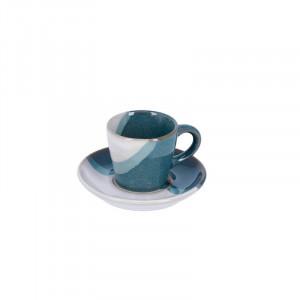Ceasca alba/albastra cu farfurioara din ceramica Nelba La Forma