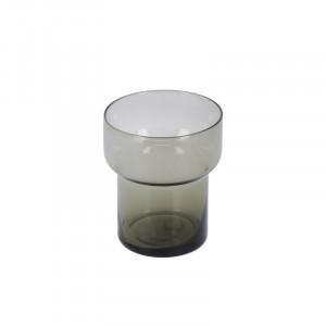 Pahar gri inchis din sticla 9x10,5 cm Syna La Forma