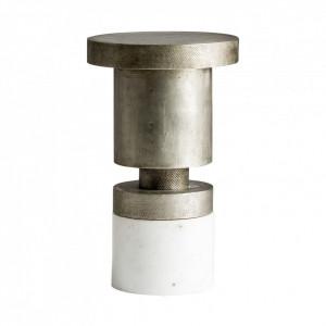 Masuta cafea rotunda din alama argintie si marmura 31 cm Recke Vical Home