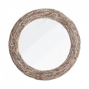Oglinda rotunda maro din lemn 110 cm Lara Vical Home