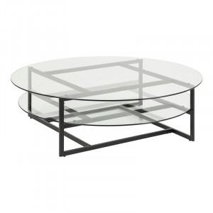 Masa transparenta/neagra din sticla si metal pentru cafea 120 cm Loke Actona Company