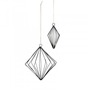 Set 2 decoratiuni suspendabile negre/aurii din fier Linn Madam Stoltz
