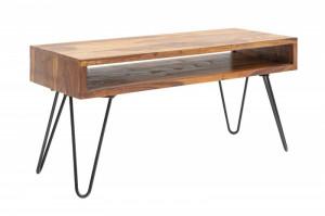 Masa maro/neagra din lemn si metal pentru cafea 50x100 cm Scorpion Sheesham Invicta Interior