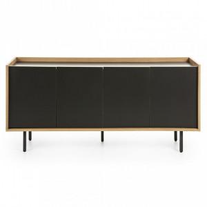 Comoda TV neagra/maro din lemn si MDF 170 cm Lish La Forma
