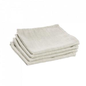 Set 4 protectii masa patrate albe din textil 40x40 cm Samay La Forma