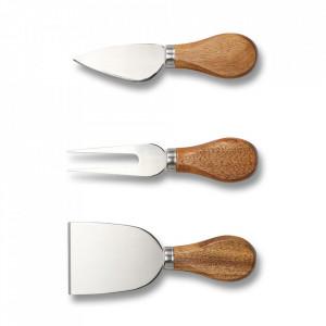Set 3 ustensile maro/argintii din lemn si inox pentru servire branza Cheese Knife Zeller