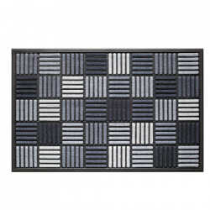 Pres dreptunghiular gri din poliamida si cauciuc pentru intrare 60x90 cm Grafik Lako