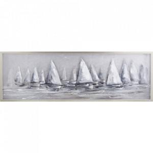 Tablou multicolor din canvas si lemn 50x150 cm Boats Ter Halle