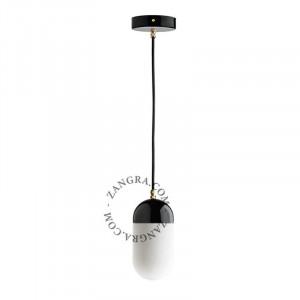 Lustra neagra/alba din portelan si sticla Kim Opal Zangra