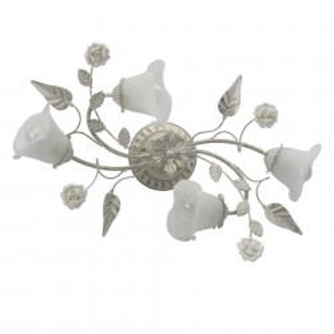 Plafoniera alba/aurie din sticla si metal cu 4 becuri Flora MW Glasberg