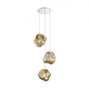 Lustra aurie din metal si sticla cu 3 becuri Rock Design Zuma Line