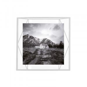 Rama foto alba/transparenta din metal si sticla pentru perete 25x26 cm Nuri LifeStyle Home Collection