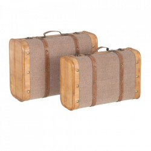 Set 2 cutii tip valiza grej din lemn si textil Fabio Ixia