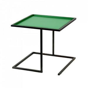 Masuta neagra/verde din otel 44x44 cm Viha Serax
