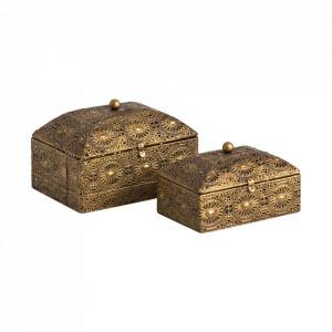 Set 2 cutii cu capac aurii din otel Harper Vical Home