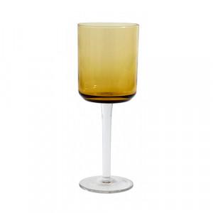 Pahar maro chihlimbar din sticla pentru vin 8x21 cm Retro Nordal
