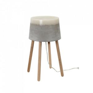 Veioza gri din beton cu LED 51 cm Yvo Serax