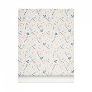 Tapet multicolor din poliester si celuloza 53x1000 cm Pressed Leaves Rose Cam Cam