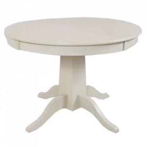 Masa dining extensibila alba din lemn de salcam 107(137) cm Avola Livin Hill