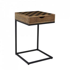 Masuta neagra/maro din lemn de mango si metal 42x42 cm Avola Livin Hill
